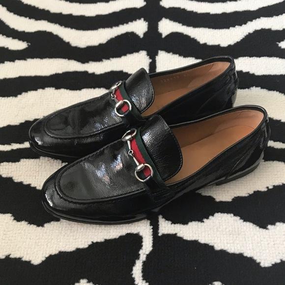 586c801d512 Gucci Shoes - Gucci Black Patent Leather Horsebit Loafers